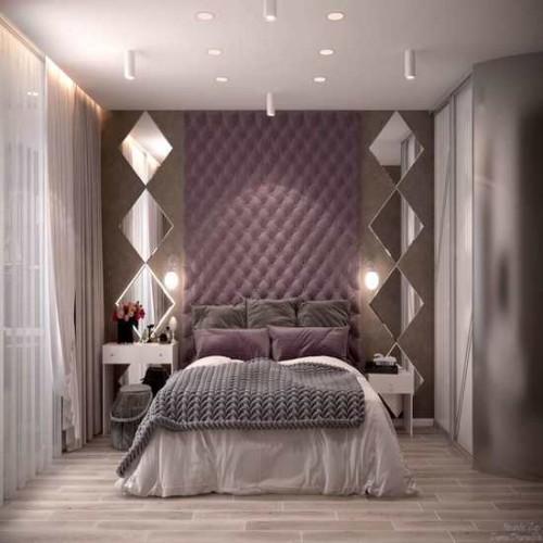 Зеркальное панно в спальню ромбы