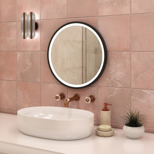 Круглое зеркало с подсветкой для ванной комнаты Стайл Блэк