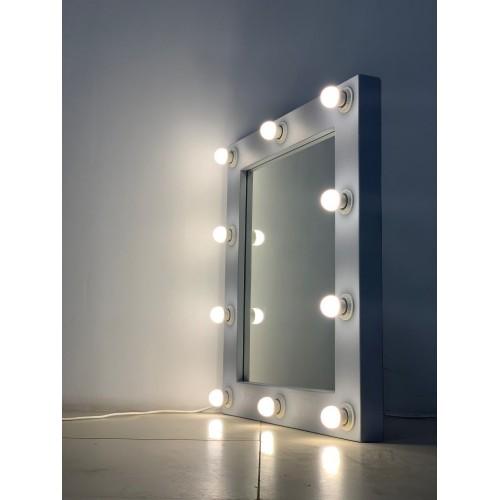 Гримерное зеркало 80x70 светло-серого цвета и подсветкой 10 LED лампами